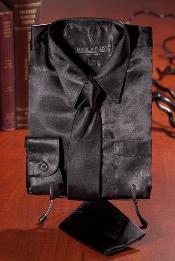 Negro Satín Vestir Camisa