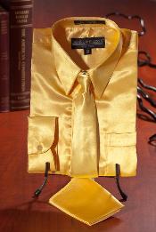 Oro Satín Vestir Camisa