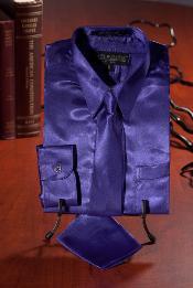 Púrpura Satín Vestir Camisa
