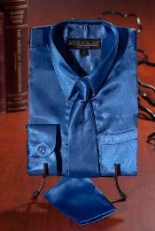 Real Azul Satín Vestir