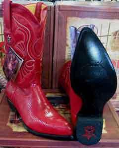 add7ea78eb Los Altos rojo Auténtico Lagartija Anillo occidental Vaquero Bota