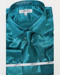lujoso brillante teal camisa