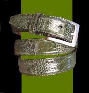Auténtico Avestruz Cinturón Aceituna