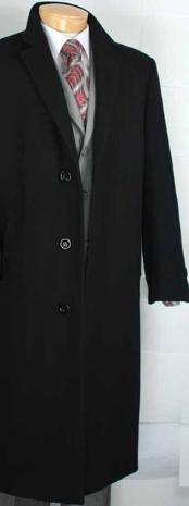 SKU*MR2940 Mens Cachemira Negra Sobretodo Mezclado
