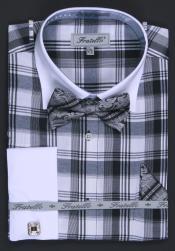 SKU * HA191 de los hombres francés Bofetada Vestir Camisa - 2 Raya Blanco Collar
