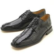 Negro Lagartija Piel Zapatos