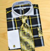 SKU*PN94 Negro Mostaza Blanco Ventana Diseño Camisa con Corbata Pañuelo y Gemelos
