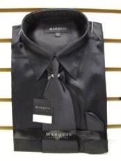 SKU * NK121 hombres La camisa de raso vestido de Nueva Negro Tie Combo Camisas