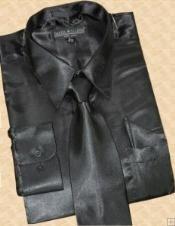 SKU * MS453 Camisa satinado vestido de Negro corbata Hanky Set