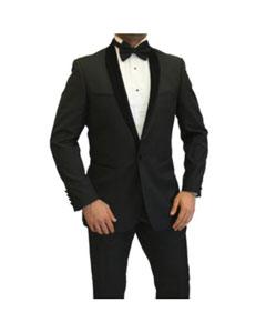 SKU*EN7577 Para hombre Negro Terciopelo Chal Collar Traje