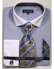 SKU*JA1216 Azul Botones Cierre Texturado Patrón francés Bofetada Algodón Camisa
