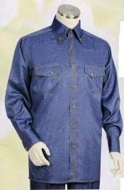 SKU*AM643 Azul Largo Manga Camisa con Pareo Vestir Pantalón