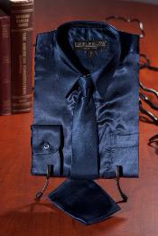 Azul Marino Satín Vestir