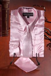 SKU*MNX732 Chicos Ligero Rosado Satín Vestir Camisa Combo