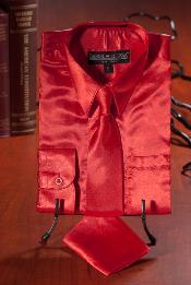 Rojo Satín Vestir Camisa