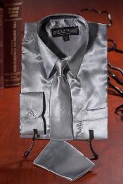Plata Satín Vestir Camisa