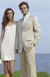 SKU * Eric_DP Ligero Ligero Tan caqui (Sand) traje de algodón y rayón y lino con 2 botones
