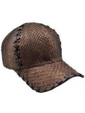 SKU*HA2077 Auténtico marrón Avestruz Caimán Exótico Piel Béisbol Gorra