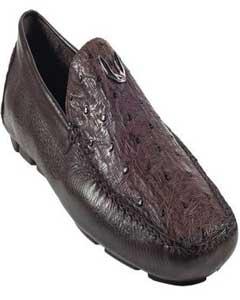 SKU*KA5567 Hombres Marrón Auténtico Completo Pluma Avestruz Conducción Zapatos