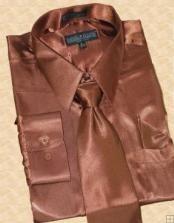 SKU * HU811 Camisa satinado vestido lazo de Brown Hanky Set