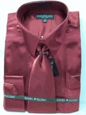 SKU * LJ342 hombres La camisa Vino Nuevo / Borgoña ~ Castaño Vino ~ vestido de satén del color del lazo Combo Camisas