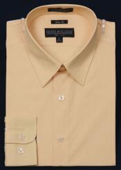 SKU*KA2055 De los hombres Delgado Ajuste con Tonal Botones Vestir Camisa - Maíz