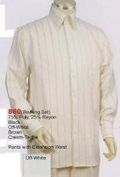 SKU*BZ513 Crema Largo Manga Camisa con Pareo Vestir Pantalón