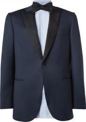 SKU*PN44 Azul y Negro Pico Collar Formal Esmoquin