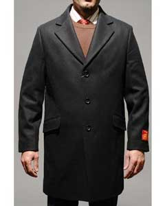SKU * FP8085 Lana Negro Hombres y Cashmere Carcoat