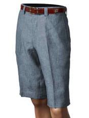 Azul Plisado Frente Pantalones