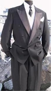 SKU*DBTXP2 1 Botón Negro doble de pecho Chaqueta + Pantalones + Camisa + Corbata larga