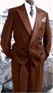 Marrón lana tela Doble