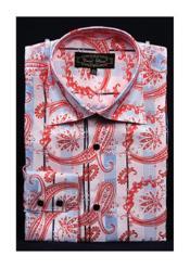 SKU*HA2897 Rosado Lujoso Brillante cachemir Alto Collar Vestir Camisa