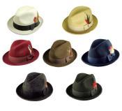 SKU*N-2901 Fedora Nuevo 100% Lana Gángster Sombrero Disponible en 6 Colores