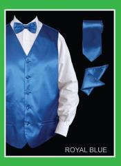 SKU*TYY88 Satín Real Azul 4 pieza Chaleco Conjunto (Pajarita, corbata, pañuelo)
