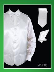 SKU*WER38 Satín Blanco 4 pieza Chaleco Conjunto (Pajarita, corbata, pañuelo)