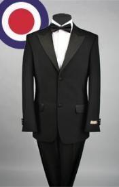 Negro 2 botones de solapa Esmoquin pico con plisados pantalones