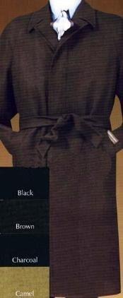 SKU*Coat0600 Negro Completo Longitud Lana Parte superior Capa Con Desmontable Cinturón