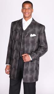 SKU*HP57 masculino Longitud de 35 pulgadas 3 Pedazo 4 Pleito de Iglesia de Botón 149 dólares Negros