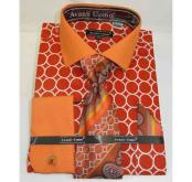 SKU*SD489 Enclavamiento Anillo Patrón naranja 100% Algodón Vestir Camisa