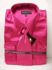 SKU * RA143 hombres La camisa de raso vestido de Nueva Fuchsia Tie Combo Camisas