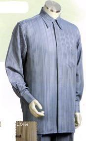 SKU*GA491 Gris Largo Manga Camisa con Pareo Vestir Pantalón