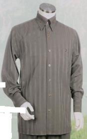 Gris Largo Manga Camisa
