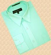SKU*MC100 Sólido Menta Verde Convertible Bofetada Algodón Mezcla Vestir Camisa