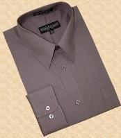 SKU*NK333 Sólido Carbón Convertible Bofetada Algodón Mezcla Vestir Camisa