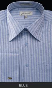 SKU*BLE90 Azul espina de pescado raya brazalete francés camisa de vestir
