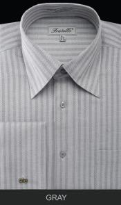 SKU*XZW42 Gris espina de pescado raya brazalete francés camisa de vestir
