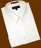SKU*PF882 Sólido Crema Convertible Bofetada Algodón Mezcla Vestir Camisa