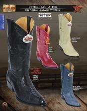 SKU*HA1137 Los Altos J -Dedo del pie occidental Botas Diferente Colores y Hecho de Auténtico Avestruz Pierna piel.