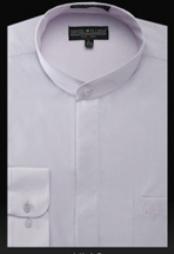 SKU*LL888 camisas de etiqueta de Cuello Divididas en bandas Básicas sin Lila de Mandarín de cuellos